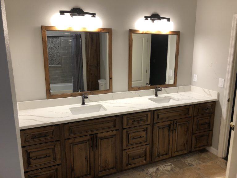 Quartz vanity top and custom Alder vanity