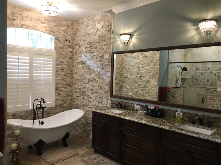granite top and custom cherry vanity