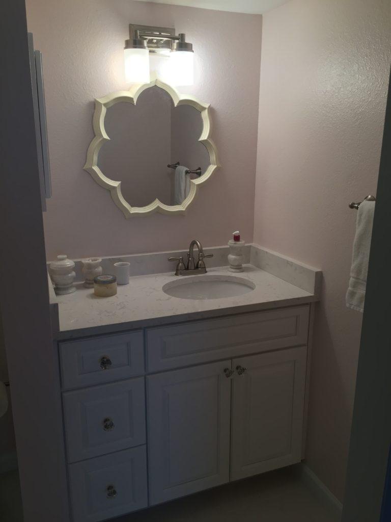 new custom vanity with quartz top