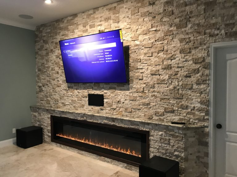 stone work tv wall fireplace