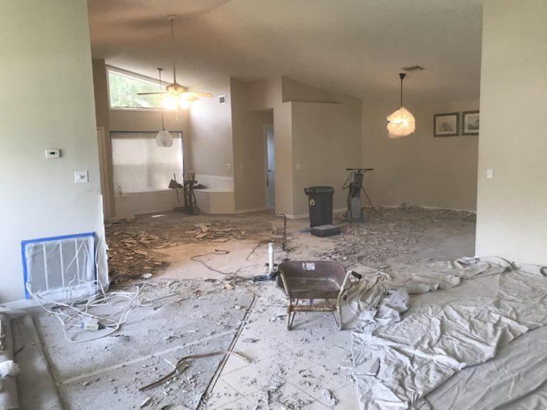 Kitchen demo tile floor