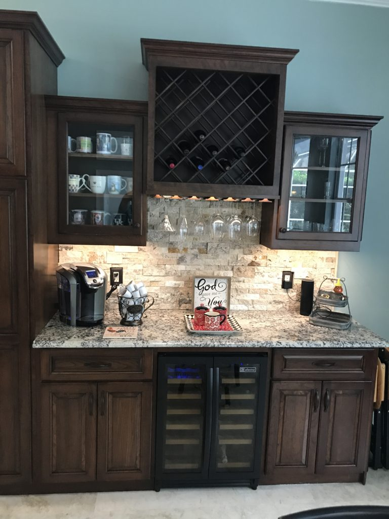 custom cherry cabinets wine fridge