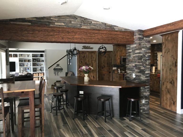 Stone butcher block countertops granite stainless steel appliances alder cabinets