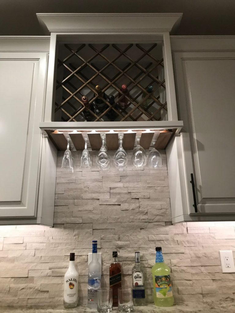 Wine rack complete with under cabinet lighting
